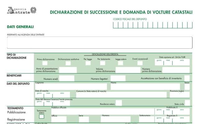 Modello pdf per la Dichiarazione di Successione 2021